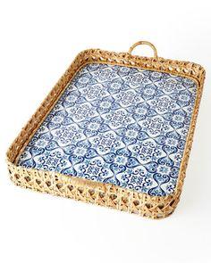 Caned Tile Print Tray by Oscar de la Renta at Neiman Marcus.