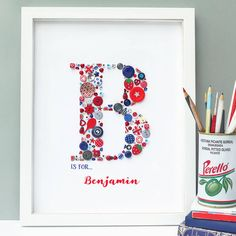 Are you interested in our Personalised Boy Initial Button Letter Art? With our Letter Baby Girl Boy Alphabet framed you need look no further.