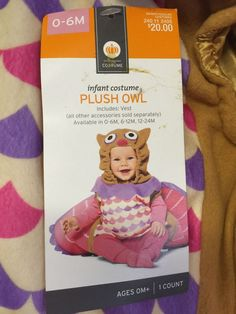 Infant Girls Costume Owl Halloween Size 0-6 Months Pink Plush Vest Wings #Costume #Vest