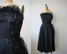 1950s vintage black dress / 50s strapless by livinvintageshop