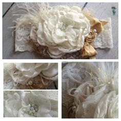 Treasured Gold headband is beautiful. It is made with and ivory and mini gold polka dot layered flower. Embellished with gold silk bow, rosettes, feathers, gold netting, pearls and glitter tulle. (31.99)