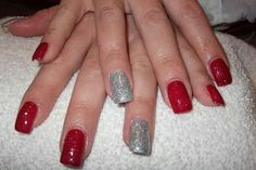 LCN #gelnails #bling #silver #red #christmas