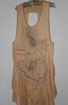 Vintage Morning Glory Frocks Cotton Floral Embroidered 1920s Era Apron Full Bib | eBay