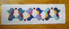 Cross Stitch bookmark with love bird pattern
