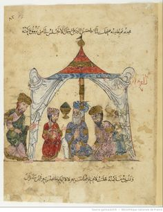 Maqamat of al-Hariri Bibliothèque nationale de France, manuscript Arabe 6094, dated 619H, 1222-23AD: folio 84r, Abu Zayd receiving al-Harith