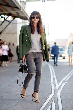 Miroslava Duma // bangs, green military blazer, grey tee, ripped jeans, mini Hermes bag and heeled sandals #style #fashion #streetstyle