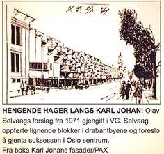 Hengende hager terrasseblokker langs Karl Johan / Selvaag 1971