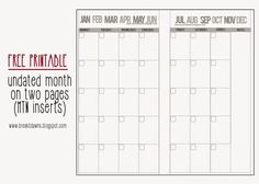 Break of Light: FREEBIE: Undated Month on 2 pages MTN insert