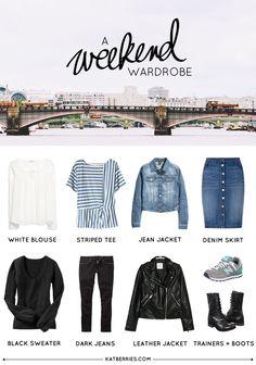 Minimal Weekend Capsule Wardrobe by Katberries Capsule Wardrobe Mom, Travel Wardrobe, Wardrobe Basics, Mom Wardrobe, Teacher Wardrobe, Travel Outfits, Weekend Packing List, Packing Tips, Travel Packing