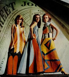 1960s paper dresses modern graphic print long gown hostess maxi orange black white art designer color photo print ad models magazine