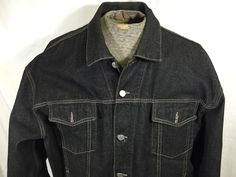 Guess Distressed Black Denim Jacket Trucker Button Front 2XL USA Made Jean #GUESS #JeanJacket