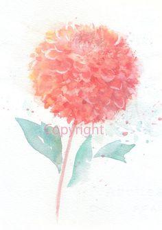Fine art watercolor painting, flower art, pink DAHLIA WATERCOLOR PRINT, giclee print, flower interest 6x8