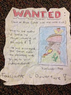 Turn historical figures into Wanted Figures. This can especially effective if you have students take the point of view of one side of a war or battle. Why would the English put George Washington on a Wanted Poster?