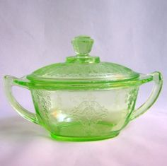 Vintage Green Depression Glass Princess Covered Sugar Hocking Glows