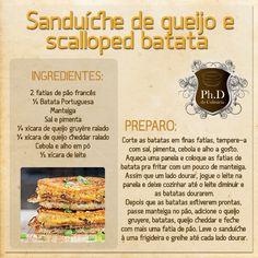 sanduíche de queijo e scalloped  batata