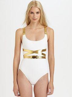 "Michael Kors Metallic Wraparound Belt One-Piece Swimsuit #SaksLLTrip ""Greek Island Godess"""