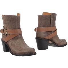 Fiorentini+baker Ankle Boots ($265) ❤ liked on Polyvore featuring shoes, boots, ankle booties, khaki, leather ankle boots, leather booties, fiorentini baker boots, ankle boots and round toe ankle boots