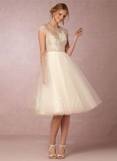 Wedding Dresses - $135.80 - A-Line/Princess Scoop Neck Knee-Length Tulle Wedding Dress With Lace (0025088663)