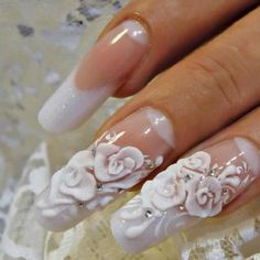 Opting for bright colours or intricate nail art isn't a must anymore. This year, nude nail designs are becoming a trend. Here are some nude nail designs. Bling Nails, 3d Nails, Rhinestone Nails, Bridal Nail Art, Wedding Nails Design, Wedding Manicure, Nail Wedding, Blue Wedding, 3d Rose