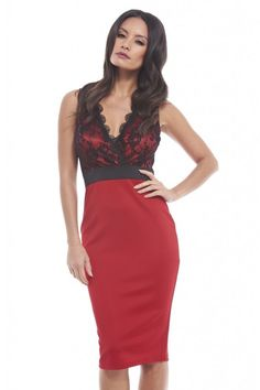 AX Paris Womens Red Lace Top Bodycon Midi Dress V Neck Office Cocktail Party