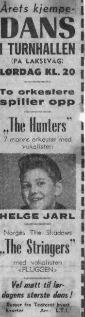 Annonse for dans i Turnhallen med Helge Jarl som vokalist for The Hunters.
