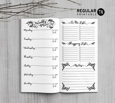 Printable Traveler's Notebook Weekly Insert - Regular TN