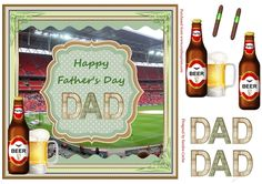 A great 'Father's Day' Decoupage Topper.  Sheet includes:  Main Topper approx: 8x8ins  Decoupage Elements  'DAD' Decoupage Elements  2 x 'cigar' embellishments if you wish to add them to your card front.  I have designed a collection of these 'Father's Day' Toppers with different backdrops which you can view by clicking on the thumbnail images below.  I hope you like this design & enjoy using it for your card making projects.    Thank you for showin...