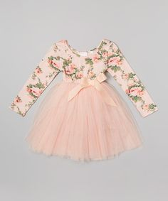 Look at this Designer Kidz Peach Floral Long-Sleeve Tutu Dress - Infant, Toddler