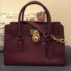 Michael kors Merlot Hamilton med NWT Would love to trade for a Louis Vuitton wallet. Such a beautiful purse for winter or summer. NWT MICHAEL Michael Kors Bags Satchels