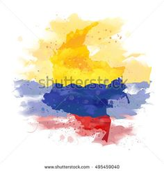 Map of Colombia Watercolor paint vector image on VectorStock Paint Vector, Map Vector, Vector Free, Colombia Map, Colombian Flag, Epic Tattoo, Geometric Art, Watercolour Painting, Life Is Beautiful