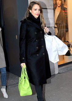 Jessica Alba with a neon handbag