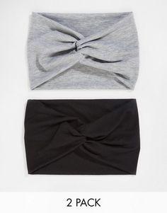 ASOS | ASOS - Confezione da 2 fasce a turbante nero e grigio mélange