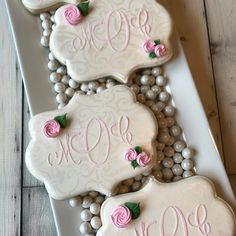 monogram cookies...@luckygirlcookies...Thanks to @buttercuplovedesigns for the custom stencil