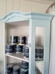 """Vintro Chalk Paint® """"moonstone"""" really stands out against the white of the wall. This display of Vintro Chalk Paint® belongs to Silje. #Vintrolicious! For further information on stockists and sales please see www.vintro.co.uk."""