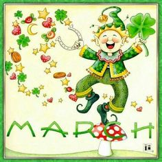 Leprechaun by Mary Engelbreit Mary Engelbreit, Happy March, Hello March, October, Erin Go Bragh, St Paddys Day, Luck Of The Irish, St Pattys, Months In A Year