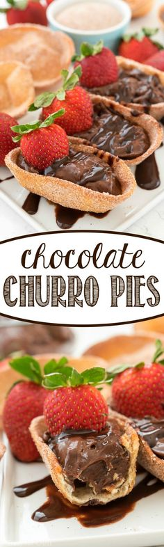 Chocolate Churro Pies - these easy pies are a crunchy cinnamon sugar tortilla filled with chocolate pudding! It's a great dessert recipe for a party or a fun Mexican dinner.