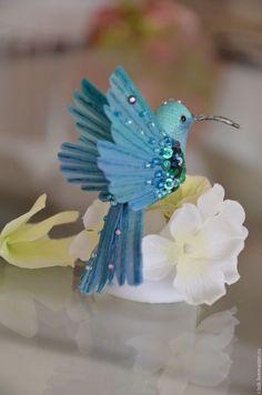Игрушки животные, ручной работы. Ярмарка Мастеров - ручная работа. Купить Интерьерная птичка бирюзовая колибри. Handmade. Морская волна