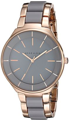 Anne Klein Women's AK/1970RGGY Rose Gold-Tone-Tone and Grey Resin Bracelet Watch -- Find out more about the great watch at the image link.