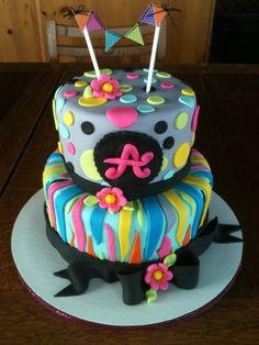 fun rainbow zebra birthday cake