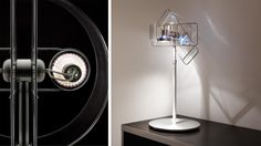 The gloss LED table lamp from Pablo. Also available in a floor version. Clear, blue, bronze and orange finishes.