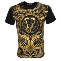 Versace Jeans Printed T Shirt Black - that should be mine! King Fashion, Suit Fashion, Fashion Pants, Versace T Shirt Men, Versace Men, Mens Polo T Shirts, Versace Fashion, Movie T Shirts, Designer Clothes For Men