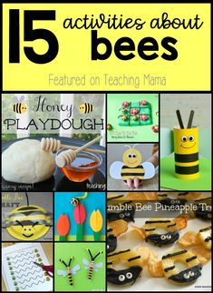 15 Activities About Bees - crafts, activities, and snacks all about bees! Insect Activities, Eyfs Activities, Fun Activities For Kids, Hands On Activities, Kindergarten Activities, Preschool Activities, Bees For Kids, Bee Crafts For Kids, Minibeasts Eyfs