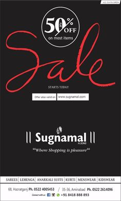 Online & Offline Sale - Get up to 50% off on latest fashion collection for branded apparels & accessories for men & women at Sugnamal. ✯Free Shipping ✯ www.sugnamal.com Order on call: 0522-4005453 Order on whatsapp: 8418888893