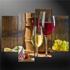 4 Piece Wall Art Painting Print On Canvas The Picture Fresh Look Color Wine Cheese Grapes Cascade Modern Design Pictures For Home Modern Decoration Oil (Stretched By Wooden Frame,Ready To Hang) Youartspace,http://www.amazon.com/dp/B00GHAWTFQ/ref=cm_sw_r_pi_dp_CIVstb1JG4K7GHD2