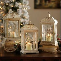Antique Cream Wood Lantern 16 75 in Kirkland s Marisa Bunney Love these These would be bigger And they re more Ivory than white Metal Lanterns, Lanterns Decor, Candle Lanterns, Antique Lanterns, Diy Candles, Candle Wax, Glamour Decor, Christmas Lanterns, Chandeliers