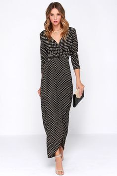 LULUS Exclusive Fluent in Stroll Black Wrap Maxi Dress at Lulus.com!