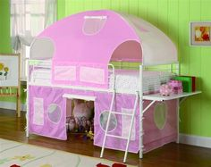 Casual White Metal Girl Tent Bunk Bed W/Desk