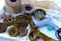 The White Bench: Tutorial: Frayed Rosettes and Bow. Cloth Flowers, Diy Flowers, Pretty Flowers, Fabric Flowers, Paper Flowers, Fabric Ribbon, Velvet Ribbon, Eclectic Fabric, Embroidery