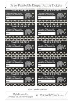 Free Eggshell Polka Dot  Chalk Style Baby Elephant Diaper Raffle Tickets