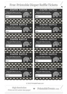 Instant Download Printable Diaper Raffle Tickets. Pink Elephant ...